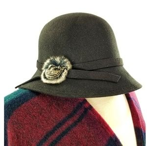 Retro Black Felt Fashion Bucket Hat